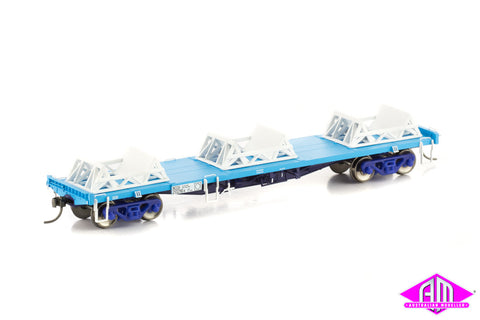 NCQX Coil Steel Wagon with 3 x Cradles, Freight Rail Blue, 4 Car Pack NSW-21