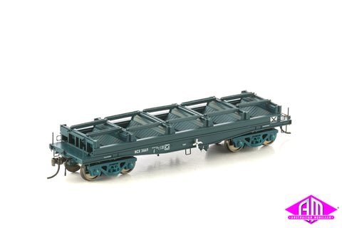 Fishbelly Underframe Wagon, NCX Coil Steel Wagon, PTC Blue without Tarp Hoops - 4 Car Pack NSW-22