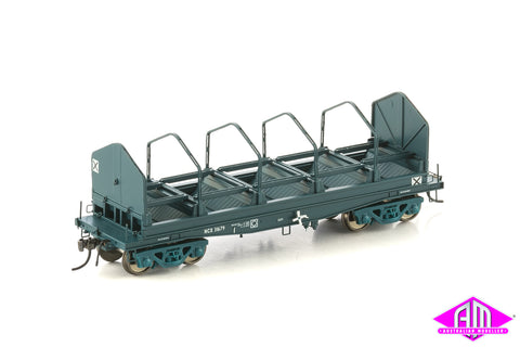 Fishbelly Underframe Wagon, NCX Coil Steel Wagon, PTC Blue with Tarp Hoops - 4 Car Pack NSW-23