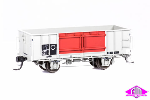 OBF Open Wagon - SAR Grey/Red, Prefabricated Doors, Roller Bearings (3 Pack)