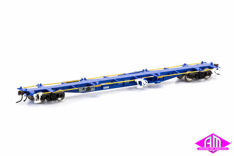 RQHY 60' Container Wagon 5-car pack (PN blue & yellow) NCW-23
