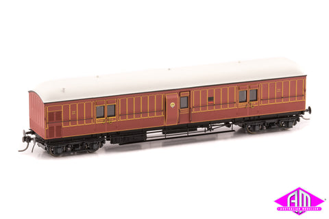 EHO Express Brake Van As Built, Full Panelling, Tuscan Red, Full lining, White lead roof EHO 645