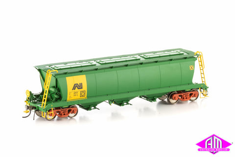 AHGX Grain Hopper - AN Green/Yellow, 4 Car Pack SGH-11