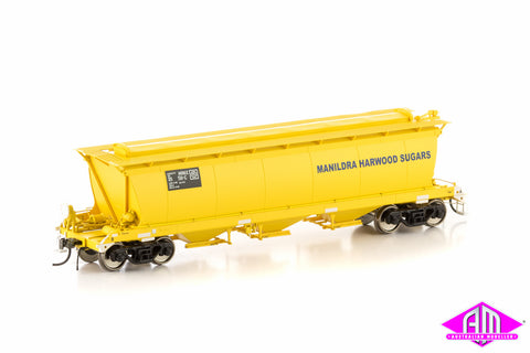 MHGX Grain Hopper - Large Doors, Manildra Harwood Sugar Yellow, 4 Car Pack SGH-8