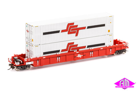 PWWY Well Wagon, SCT Red - Single Car with SCT Containers SWW-7