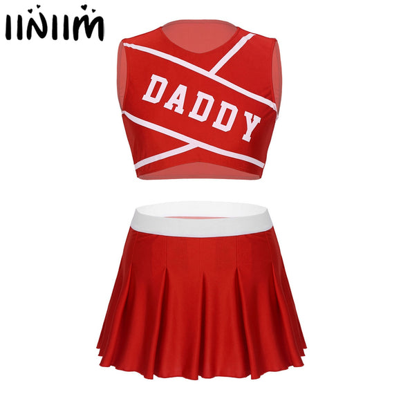 iiniim Women's Sets Adult Charming Cheerleader Cosplay Stage Costume Dancewear Hot Competition Crop Top with Mini Pleated Skirt