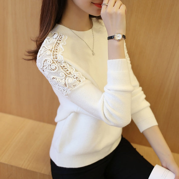 2020 New Autumn Winter Women Pullover Korean Hollow Out Knitwear Batwing Sleeve Embroidered Casual Women's Sweater Pull Femme