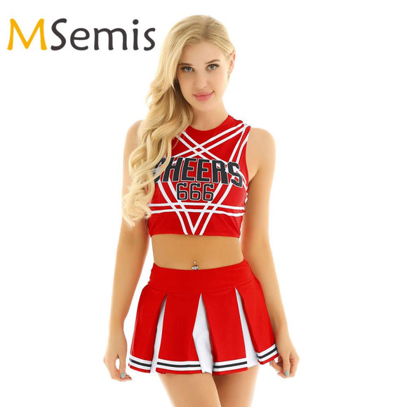 Women's Cheerleader Cosplay Costume Set Pentagram Back Crop Top with Mini Pleated Skirt Charming Role Play Cheerleading Uniform