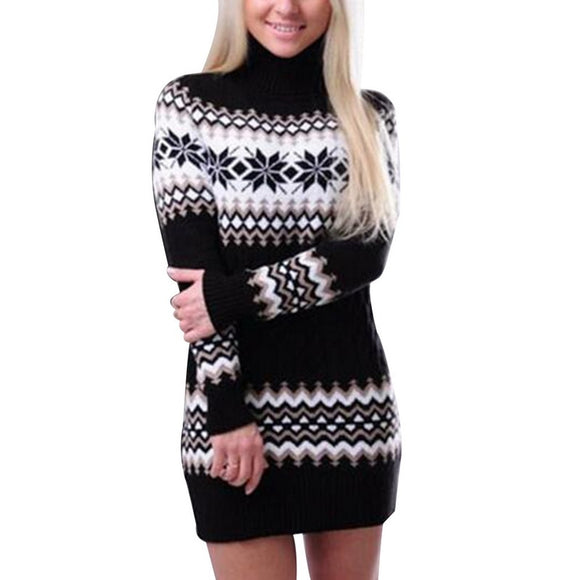 Women's Winter Warm Turtleneck Sweaters Dress Knitted Female Long Christmas Pullovers Slim Patchwork Knitwear Mini Bodycon