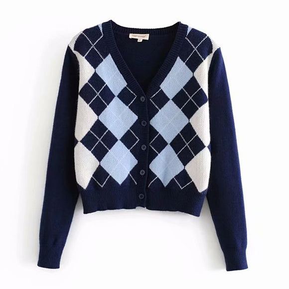 Cardigan Sweater 2020 new women's sweater fashion plaid V-neck cardigan sweater elegant ladies wild Tops sweaters coat