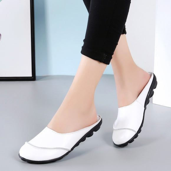 Women Genuine Leather Shoes Summer Shallow Slip On Female Flat Shoes Cut-outs Women's Loafers Mocassin Femme