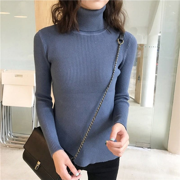 Women's Turtleneck Sweater Autumn Winter Long Sleeve Knitted Pullover Fashion Solid Color Slim Elastic Thick Short Jumper Female