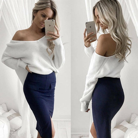 Sexy off shoulder knitwear pullover Women's Sweater Autumn winter Warm Sweater casual Long Sleeve Jumper Slash Neck Tops clothe