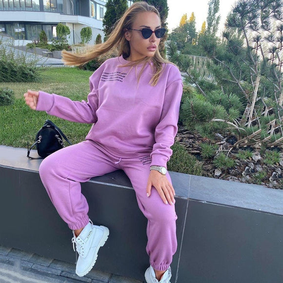 Women's Suit Tracksuits Sweater And Pants Casual Sport Suit Winter Two Piece Set Loose For Sportswear Sports Suit Women