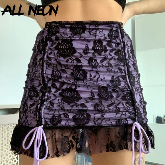 ALLNeon Y2K Mall Goth Aesthetics Ruffles Drawstring Mini Skirts E-girl Vintage Ruched Double layer Lace Trim Skirt Punk Bottoms