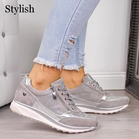 Women's Vulcanized Shoes Spring Casual Wedges Ladies Flat Shoes Zipper Lace Up Comfortable Female Shoes Outdoor Single Sneakers