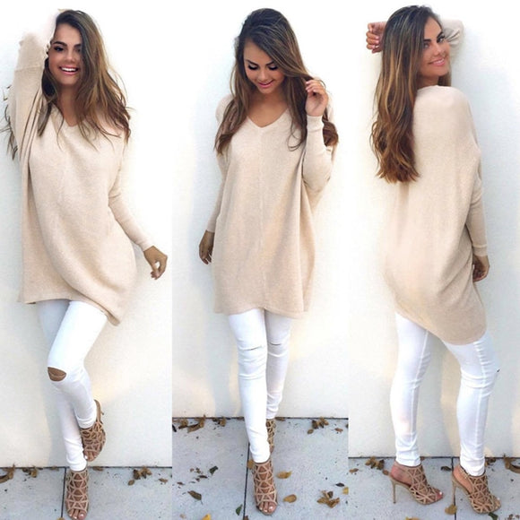 Autumn Winter Women Sweater Dress V-Neck Long Sleeve Pullovers Loose Sweater Knitted Oversized Jumper Casual Women's Sweaters