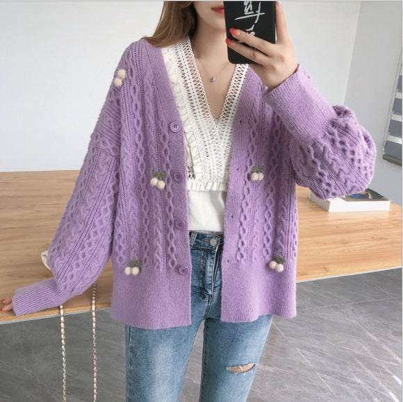 Embroidery Floral Knitted Cardigans Women Sweater Autumn Winter Korean O-Neck Women's Sweaters Coat Casual Oversize Suete Mujer
