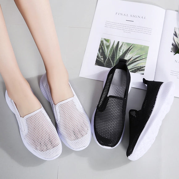 Summer Mesh Women's Flats Shoes 2021 Breathable Sneakers Women Walking Shoes Ladies Slip On Elastic Band Casual Comfort Female