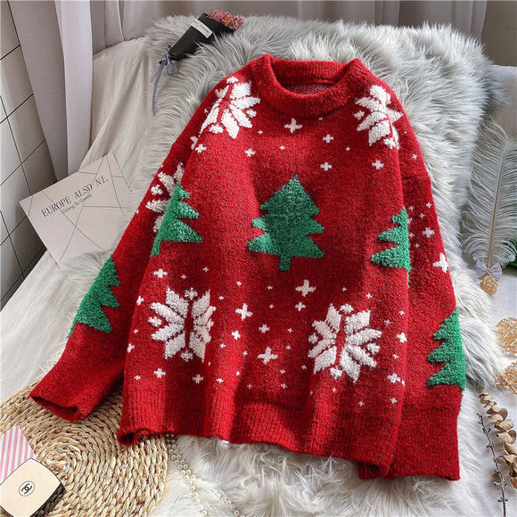 Christmas Sweater women's Pullover new loose red sweater top for fall / winter 2020