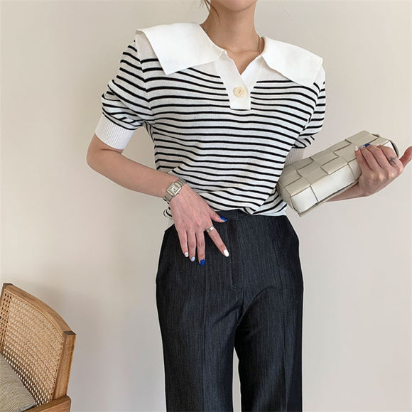 HziriP Hot 2020 Vintage Loose Striped All Match Thin Office Lady Work Pullover Short Sleeve Slim Knitted Sweaters Women's Tops