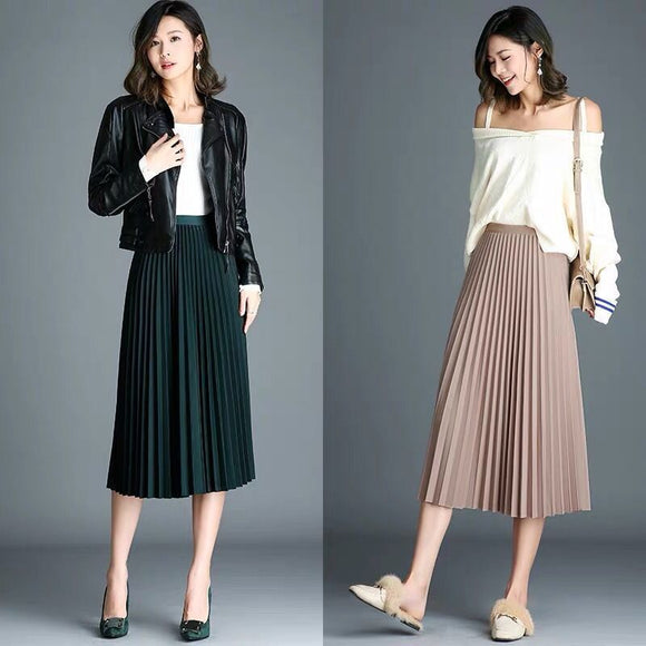 Autumn and Winter Skirt Women's High Waist A- line Expandable Long Pleated Woman Skirts Mujer Faldas Saias Mulher