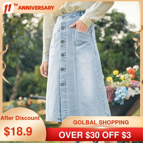 INMAN 2021 Spring New Arrival Denim Pure Cotton Water Wash Spring Autumn Casual Thin Versatile A-line Mid Women's Skirt