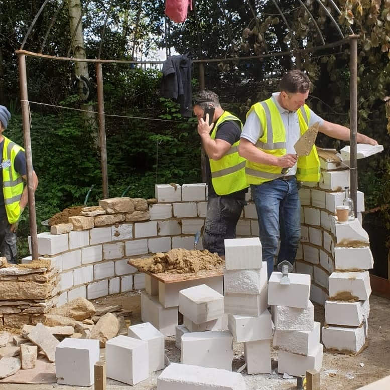 Building wall in garden at RHS chelsea