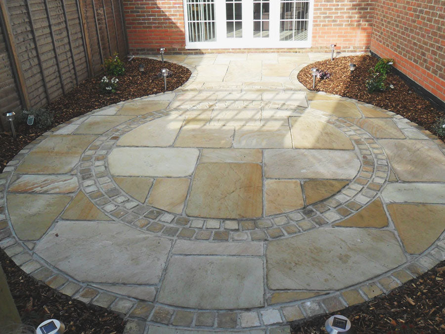 Mint sandstone natural stone paving patio slabs and edging setts cobbles paviers