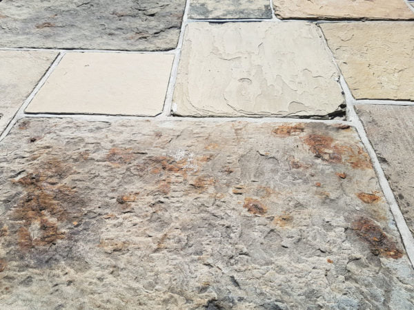 Old Reclaimed York Stone natural paving ethical paving patio slabs Yorkstone York patio