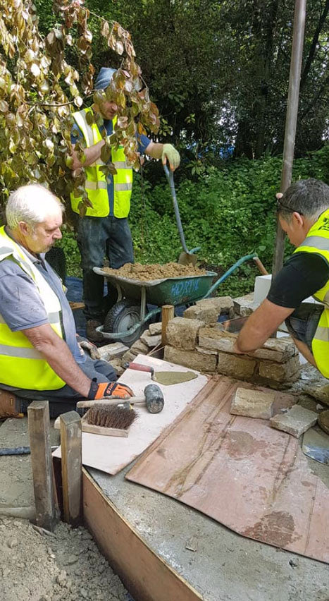 Laying stone walling at RHS Chelsea