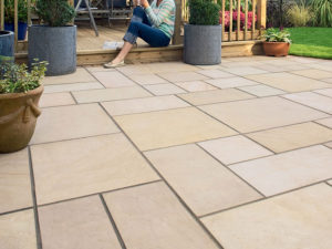 Sawn Indian sandstone natural paving fossil mint patio paving