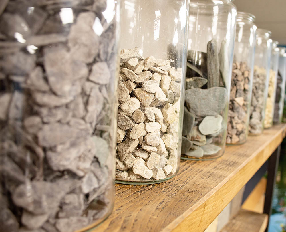 Stone chippings samples on display in showroom