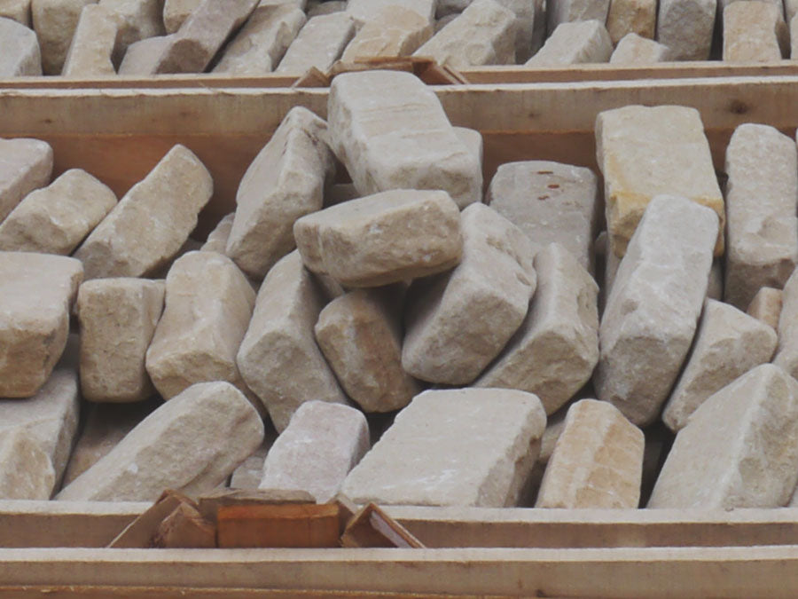 Indian Sandstone tumbled paving setts edging paviers cobbles Mint Fossil Patio