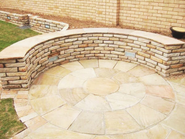 Tumbled Sandstone Walling in Mint