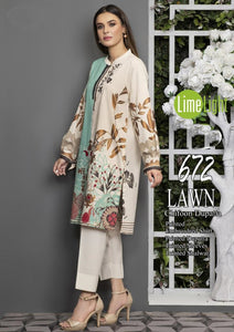 LIMELIGHT EMBROIDERED LAWN 3PC GA001