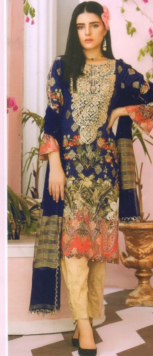 Charizma embroidered 3 piece lawn suit D-08