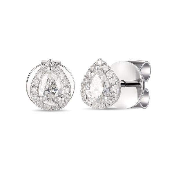 DIAMOND PEAR HALO EARRINGS