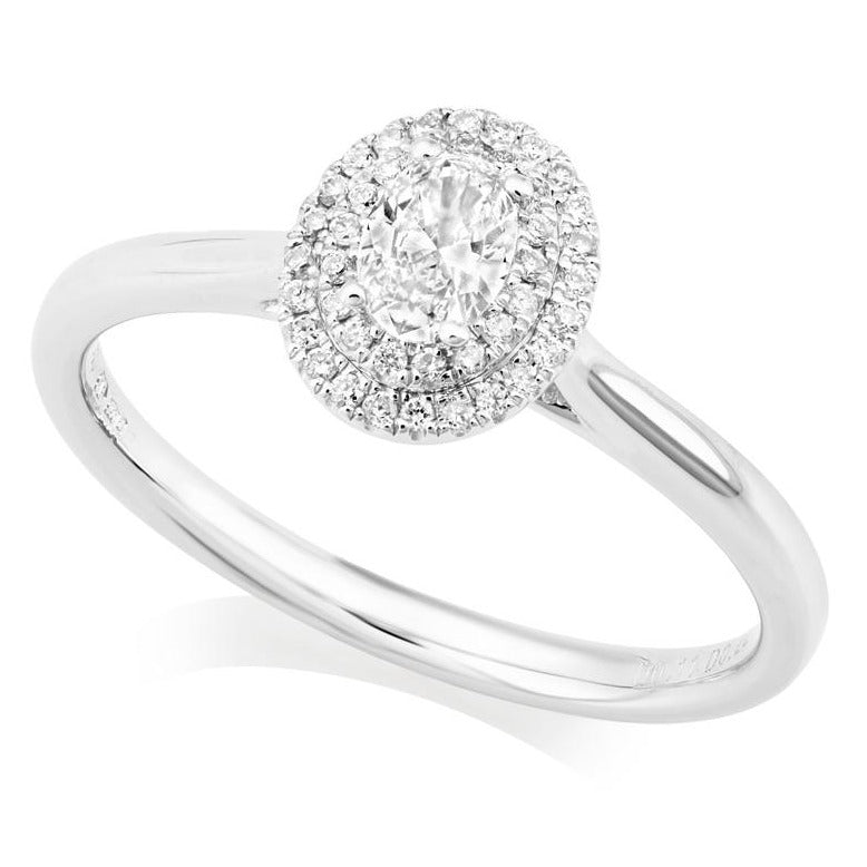 PLATINUM DOUDLE HALO OVAL DIAMOND RING