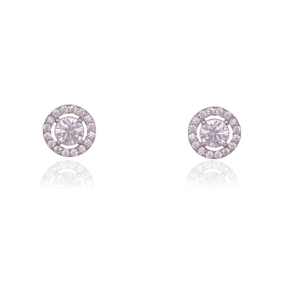 CUBIC ZIRCONIA ROUND CUT HALO EARRINGS