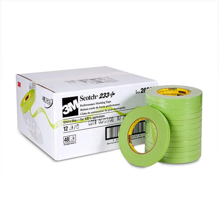 3M Scotch 26332 12 mm x 55 m 233+ Crepe Paper Masking Tape, 250 Degree F Performance Temperature