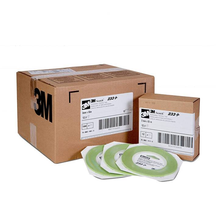 3M Scotch 26343 3 mm x 55 m 233+ Crepe Paper Masking Tape, 250 Degree F Performance Temperature