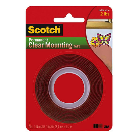 3M Scotch 4010 Permanent Clear Mounting Tape, 1 Inch x 60 Inch X .02 Inch