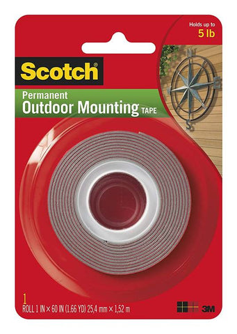 3M Scotch 4011 Permanent Outdoor Mounting Tape, 1 Inch x 60 Inch