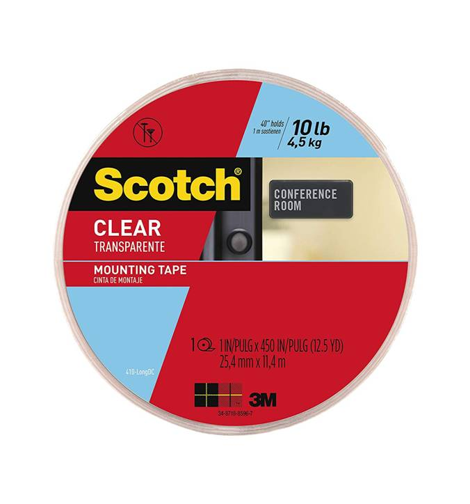 3M Scotch 410-LONGDC Clear Mounting Tape, 1 Inch x 450 Inch