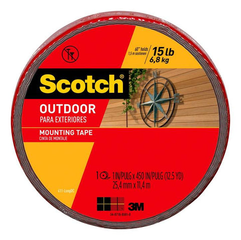 3M Scotch 411-LONGDC Outdoor Mounting Tape, 1 Inch x 450 Inch