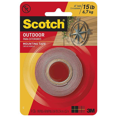3M Scotch 411P Outdoor Mounting Tape, 1 Inch X 60 Inch, Gray