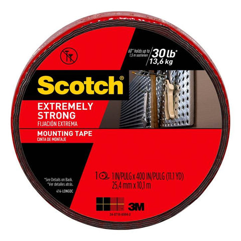 3M Scotch 414-LONGDC Extreme Strong Mounting Tape, 1-inch X 400-inches, Black, 1-Roll