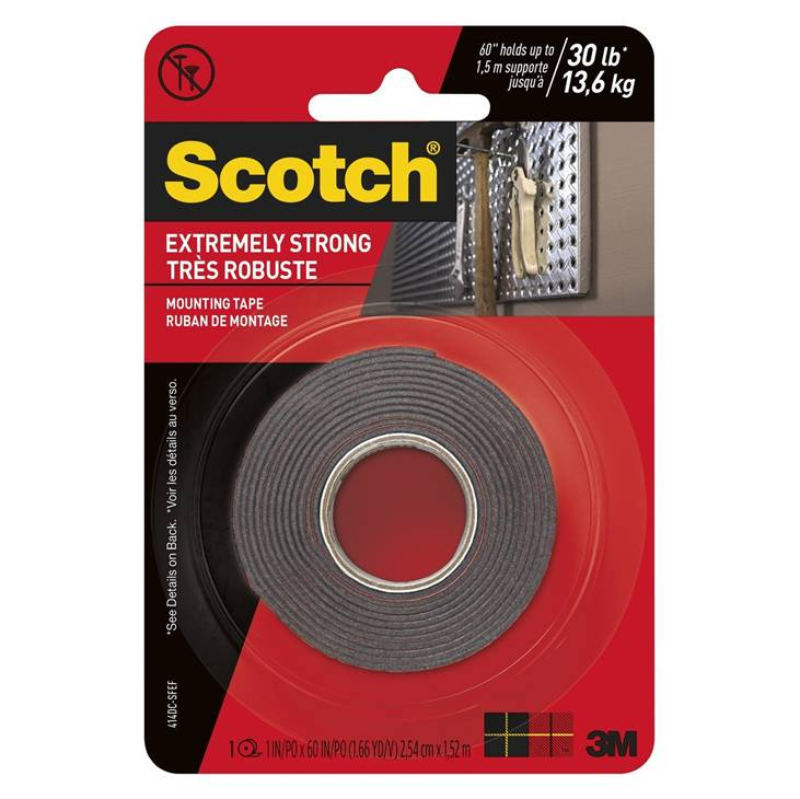 3M Scotch 414P Extreme Strong Mounting Tape, 1-inch X 60-inches, Black, 1-Roll
