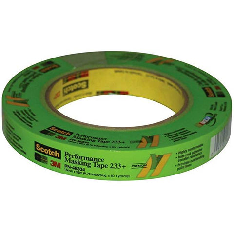 3M Scotch 46334 18 mm x 55 m 233+ Crepe Paper Masking Tape, 250 Degree F Performance Temperature